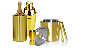 Stainless Steel Golden Coloured Bar Set of 5 Pcs/ Cocktail Shaker/Ice Bucket/Jigger/Wine Cooler/Tong