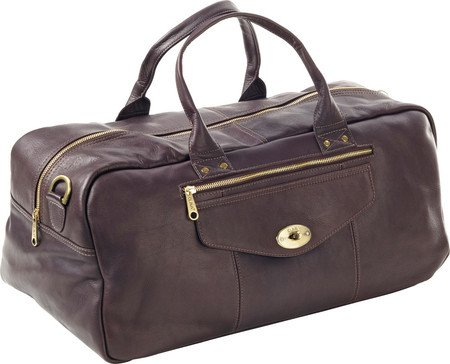 (Clava Leather Aviator Turn-Lock Duffel, Cafe, US)