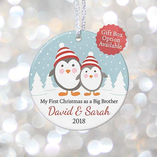 Brother Ornament Personalized Big (First Christmas as Big Brother or Big Sister, Personalized Brother and Sister Christmas Gift 2018, Gift for New Baby - 3
