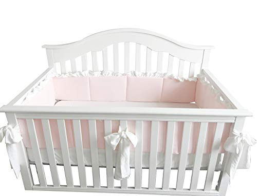 Blush Coral Pink Ruffle Crib Bedding Set Baby Girl Bedding Blanket Nursery Crib Skirt Set Baby Girl Crib Bedding Sheet (LT Coral, Bumper with Big Bows)