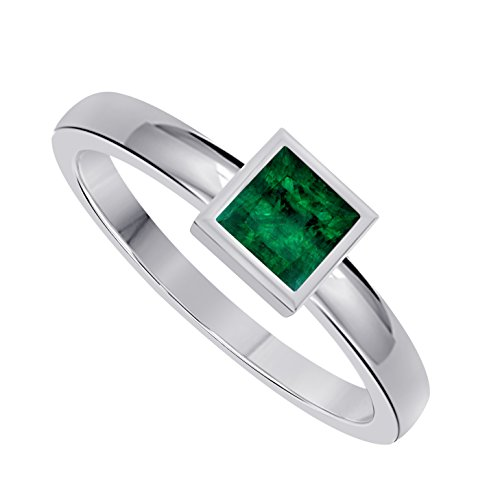 Classic 1.00 Ct Princess Cut Lab Created Green Emerald Bezel Set Solitaire Engagement Ring in 925 Sterling ()