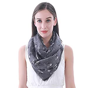 Lina & Lily Boxer Dog Print Women's Infinity Loop Scarf Lightweight 4