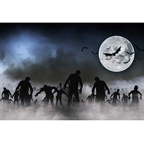 YongFoto 5x3ft Halloween Backdrop Halloween Zombies Theme Party Photography Backdrop Dead Men Walking in The Doom Mist at Dark Night Sky Haunted Decor Full Moon Bat End of The World Photo Booth -