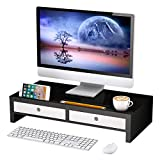 Monitor Stand Riser with Drawer - Good Desk Shelf Organizer,Keyboard Storage,Stylish Black,22' x 10.6' x 4.7'