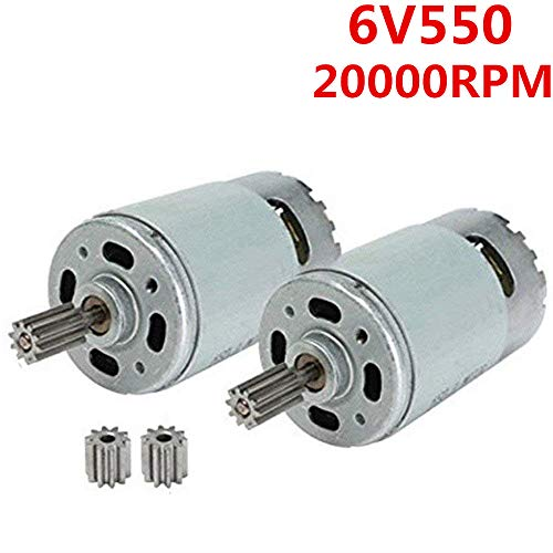 weelye 2 Pcs Universal 550 20000RPM High Speed Electric Motor RS550 6V Motor Drive Engine Accessory for RC Car Children Ride on Toys Replacement Parts ()