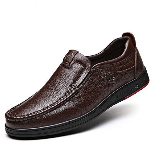 Mocasines cómodos Slip de U de Tip Gran tamaño tamaño Color en EU Marrón 43 Cuero para Qiusa Zapato Hombres de Genuino wf67Zq