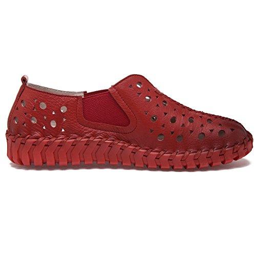 Shenn Mujer Ponerse Plano Casual Hermosa Hueco Cuero Zapatillas De Deporte Zapatos Rojo