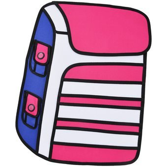 Bags 3D-Bolsa 2D Bidimensional Cartoon design-Mochila, color ROSA: Amazon.es: Deportes y aire libre