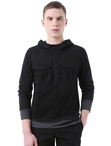 Allegra K Men Half Placket Slim Fit Hooded Shirt Black (Buttoned Placket)