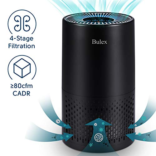 HEPA Air Purifier - Bulex Air Purifier with True HEPA Filter for 99.97% Purification, 4-Stage Filtration & Timing Function & Sleep Mode & Night Light, Easy to Set Air Purifier, Perfect for Bedroom