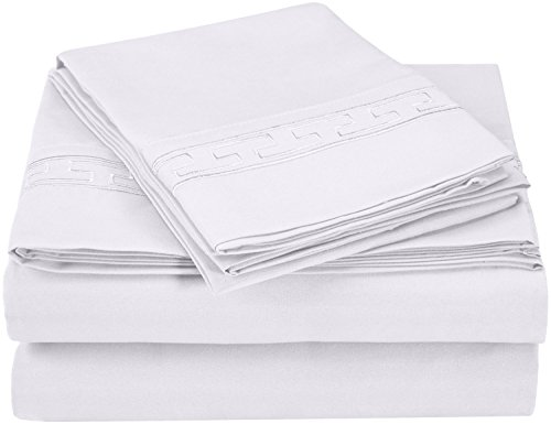 Embroidered Greek Key Pillow - Superior Regal Greek Key Embroidered Sheets, Luxurious Silky Soft, Light Weight, Wrinkle Resistant Brushed Microfiber, Queen Size 4-Piece Sheet Set, White