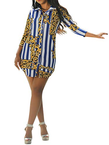 (Speedle Women's Lapel Button Down Retro 3/4 Sleeve Blouse Floral Print Party Top Stripe Shirt Blue White M)