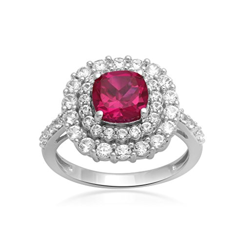Jewelili Sterling Silver Cushion Cut Created Ruby and Created White Sapphire Double Halo Ring, Size 7