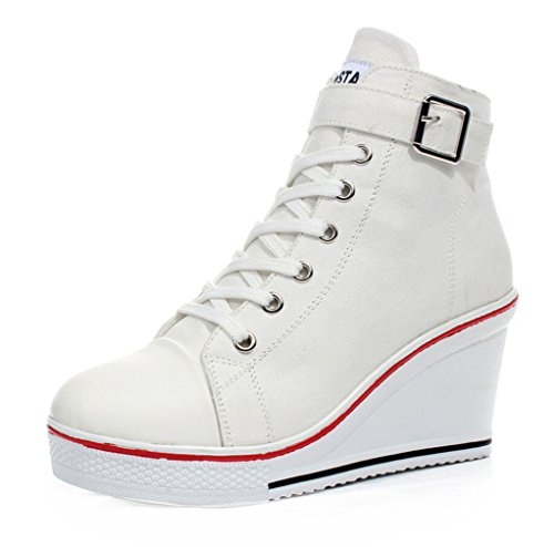 Women's Pump Canvas JiYe Heeled Fashion High E white Shoes Sneaker d5HSS6Yn
