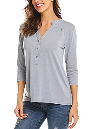 Mofavor Women's Casual V Neck 3 5 Sleeve Button Down Pleated Loose Blouse Tops