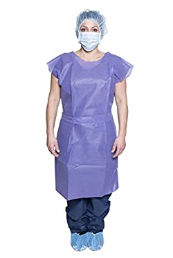 DUKAL 304 Patient Exam Gown, Blue, Non-Sterile, One size (Pack of 50)