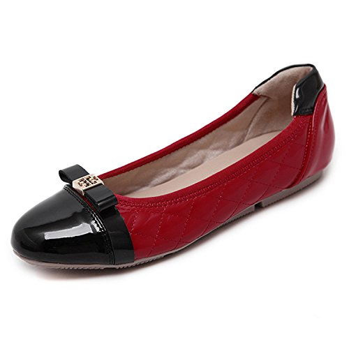 Casual Slip-On Flats Fashion Patchwork Bow Round Toe Women Flats Shoes Woman Women'S Ballet Flats Size 40 Black Red 9 (Patchwork Flat Shoes)