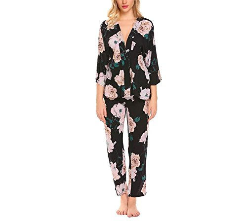Price comparison product image JIANGTAOLANG Sexy Women Sleepwear Long Pajamas Set V-Neck 3 / 4 Wide Sleeve Floral Print Nightwear Black S