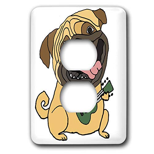 3dRose All Smiles Art - Music - Funny Cute Pug Puppy Dog Playing Ukulele Music Cartoon - 2 plug outlet cover (lsp_315268_6)