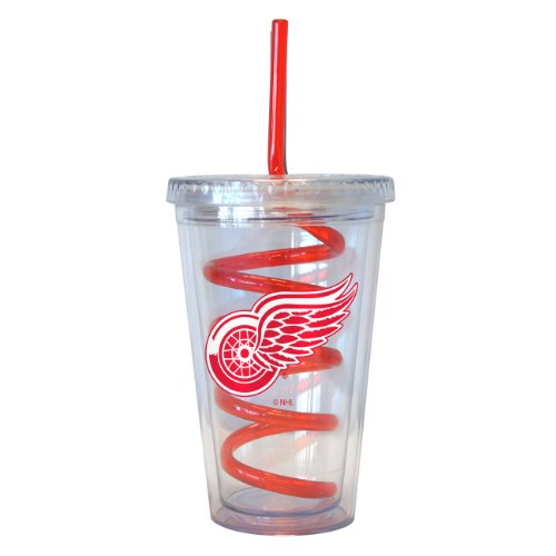 NHL Detroit Red Wings Tumbler with Swirl Straw, 16-ounce