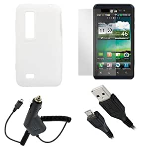 GTMax White Soft Silicone Case + Clear LCD Screen Protector + Car Charger + USB Sync Data Cable for LG Thrill 4G (Optimus 3D)