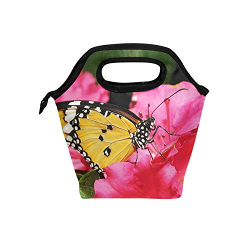 GREEDCLOUD Lacewing Butterfly Pink Insulated Lunch Bag Box Cooler Reusable Tote Bag Outdoor Travel Picnic With Shoulder Strap for Adults or Kids.