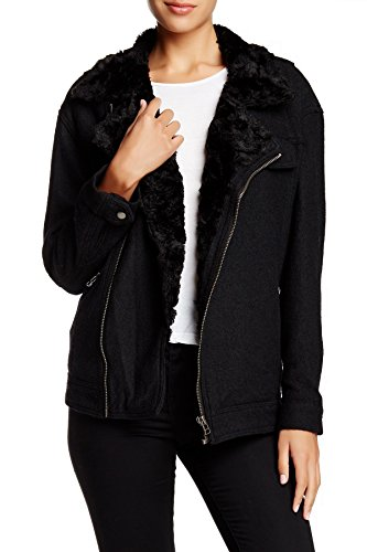 Free People Faux Fur Trim Slouchy Jacket, S, Black