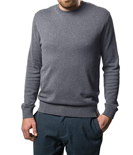 Cotton Thermal Crewneck Sweater - Marino Cotton Sweaters for Men - Lightweight Crewneck Men's Pullover - Charcoal Grey - Large
