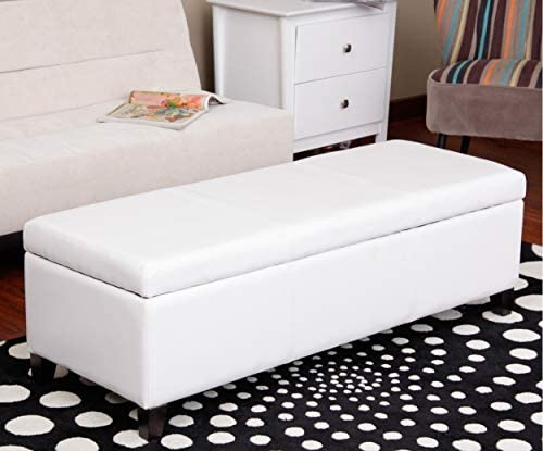 Ilunar Home Storage Ottoman Solid Bench with Faux Leather Upholstery