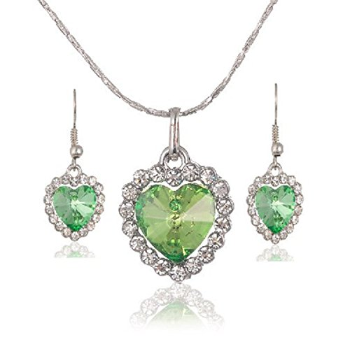 Mayfun Heart Shaped Faux Diamond Pendant Dangle Earring and Necklace Jewelry Set for Women Girls (Green) ()