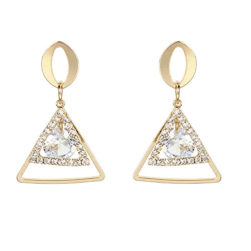 Womens Dangle Earrings,Elegant Zircon Drop Earrings Diamond-Encrusted Stud Earrings Jewelry Axchongery (A, 1 Pair)