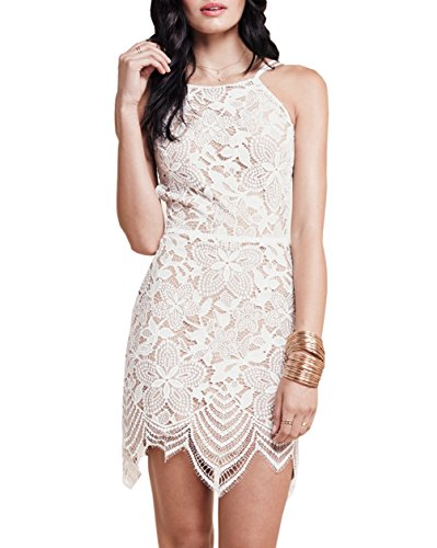 DEARCASE Women's Lace Cocktail Party Backless Sleeveless Strapless Dress - Tie Hem Strapless Dress