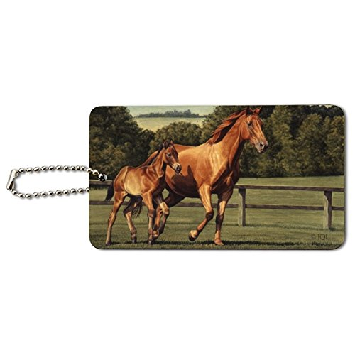 Mother Horse and Foal Baby Fresh Start Wood Luggage Card Suitcase Carry-On ID Tag ()