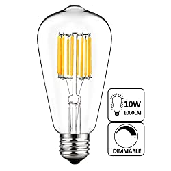 Gezee 10w Edison Style Vintage Led Filament Light Bulb, 100w Incandescent Replacement,warm White 2700k,1000lm, E26 Medium Base Lamp, St21(st64) Antique Shape, Dimmable(1pack)