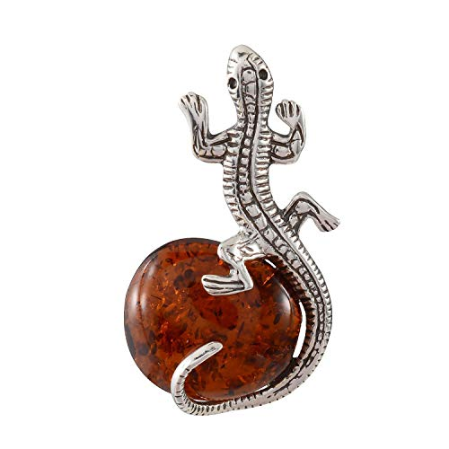 (HolidayGiftShops Sterling Silver and Baltic Honey Amber Lizard Brooch)