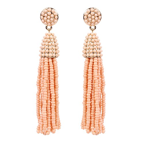 BaubleStar Cantaloupe Fashion Gold Tassel Dangle Earrings Handmade Fringe Beaded Long Drop Boho Bohemian Statement Jewelry for Women (Earrings 80s Style)