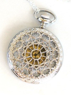 Steampunk WEB OF LOVE Pocket Watch White Face Mechanical Necklace Silver White Gold Pocket Watch