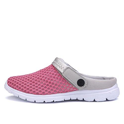 SAGUARO® Unisex del verano de malla transpirable zapatos de ocio punta cerrada deslizadores de las sandalias de playa Rosa roja
