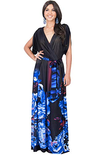 KOH KOH Womens Long V-Neck Short Sleeve Floral Print Elegant Flattering Flowy Formal Evening Cocktail Maternity Sun Gown Gowns Maxi Dress Dresses, Blue and Black L 12-14 -