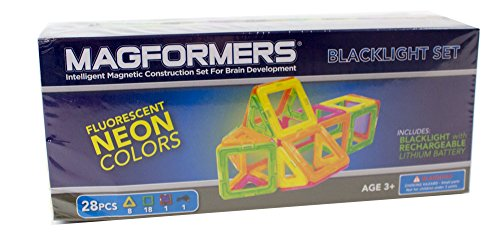 Magformers Neon Blacklight Set (28-Pieces) Magnetic    Building      Blocks, Educational  Magnetic    Tiles Kit , Magnetic    Construction - Tower Blacklight