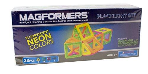 Magformers Neon Blacklight Set (28-Pieces) Magnetic    Building      Blocks, Educational  Magnetic    Tiles Kit , Magnetic    Construction  STEM Set