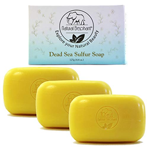 Dead Sea Sulfur Soap 4.4 oz 3 Pack (3 Soap Bars) by Natural Elephant
