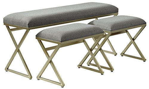 Ashley Furniture Signature Design - Emanita Set of 3 Accent Benches - Contemporary - Gray Upholstered Seat - Gold Metal Legs