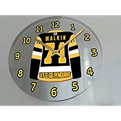 Hockey Wall Clocks - 12 X 12 X 2 N H L Jersey Themed Clock - Metropolitan Division - Let's GO Editions !! (Let's Go Penguins Edition)