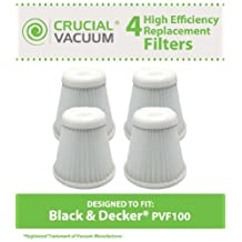 High Quality 4-pack Filters Fits Black & Decker Pivot Vac Model PHV1800; Compare to Black & Decker Vacuum Cleaner Part # PVF100, PVF-100, 5147239-00, 514723900; Designed & Engineered By Crucial Vacuum