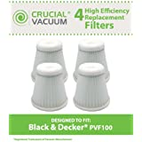 4 Filters for Black & Decker PHV100 Pivot Vac; Compare to Black & Decker Part No. 514723900; Designed & Engineered by Think Crucial