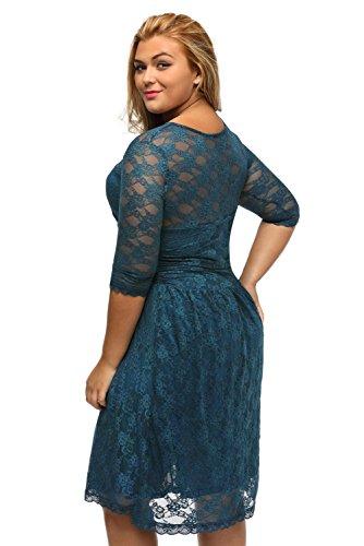 Nueva mujer Plus tamaño azul encaje vestido de manga 3/4Casual noche partido desgaste tamaño XXL UK 16UE 44