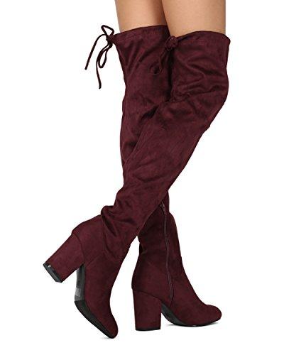 Alrisco Kvinnor Lår Högt Över Knäet Blocket Chunky Klack Boot - Cosplay Dräkt Dressat Parti Dragsko - He87 Av Refresh Copllection Vin Faux Mocka