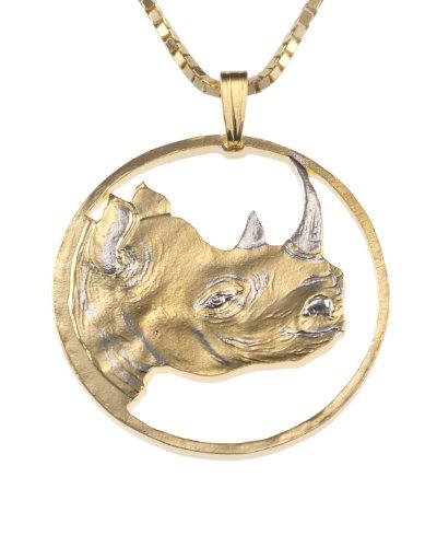 Rhino+Pendant+%26+Necklace%2C+Eritrea+Coin+Hand+Cut