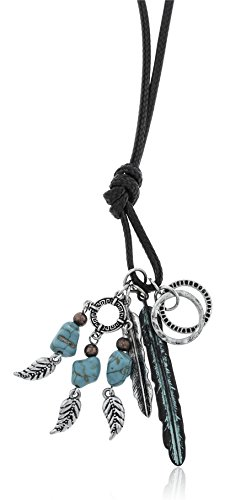 Dangling Turquoise Pendant (JOTW Faux Leather Cord Necklace with Multi Western Dangling Charms (Turquoise Feather))